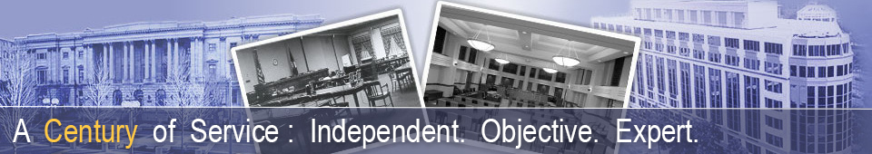 Photo From Left:  Original USITC Building, Original USITC Main Hearing Room,  Current USITC Main Hearing Room, Current USITC Building.